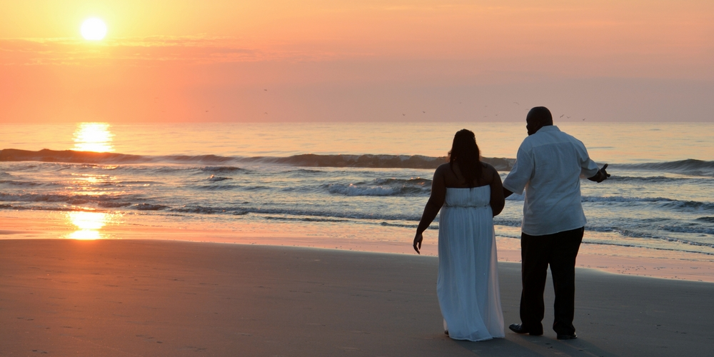 Photographers at the Beach shoot a beautiful Myrtle Beach sunrise wedding